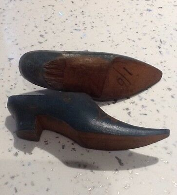 Little Pair Of miniature Blue Antique Wooden Shoes.