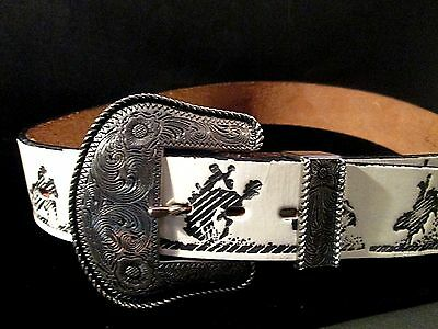 Vintage Woman's White Leather Belt  WESTERN RODEO COWBOY BUCKING BRONCO MOTIF