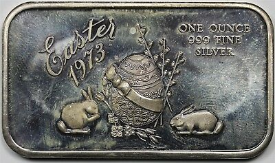 1973 Easter Madison Mint .999 Fine Silver Art Bar 1 Troy oz