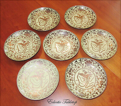 Set of Eight Antique Chinese Plates with Silver Overlay of a Chinese Phoenix