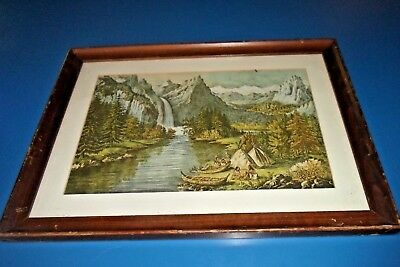 Antique Vintage Print Yosemite Valley Calif Indians Mountains Water Cabin Cool