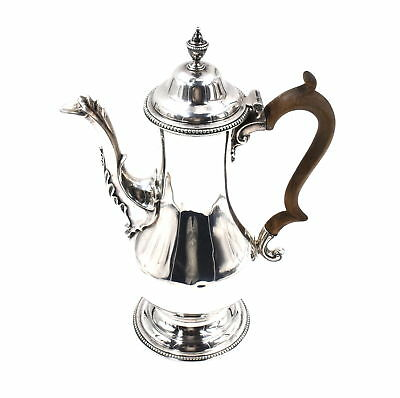 EARLY GEORGIAN TEA POT BEADED STERLING SILVER WOOD HANDLE THOMAS DEALTRY c1774