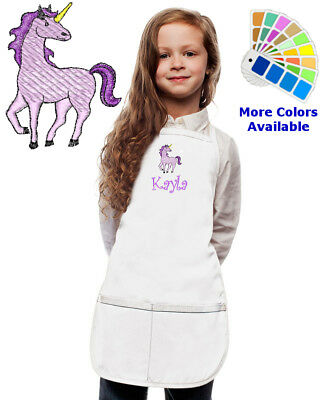 Personalized Kids Apron with Unicorn Horse Embroidery Design