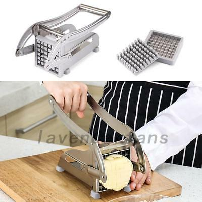 Stainless Steel French Fry Cutter Potato Chip Vegetable Fruit Slicer 2 Blades AU