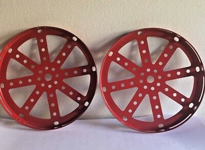 2 Red Meccano Part No 118 Hub Disc - 5 1/2 inches in Diameter