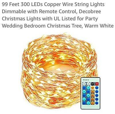99 Feet 300 LED Copper Wire String Lights With Dimmable With Remote Control