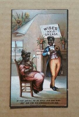Wise's Axle Grease,Clark & Wise Mfg.Chicago,Black Americana Trade Card,1880's