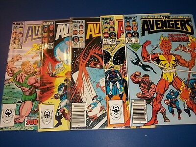 Avengers #258,259,260,261,262 Run of 5  Firelord FVF to VF+