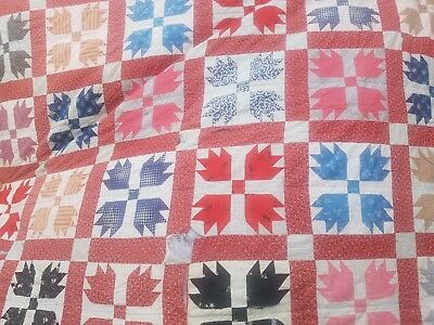 """VINTAGE 1930's HANDMADE-HAND STITCHED Quilt Cutter """"BLOSSOMS"""" 89 x 85"""