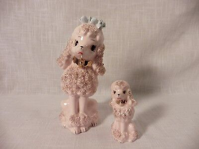 "VTG Poodle Pink & Gold Spaghetti Mother Dog Ceramic 6"" Figurine  With Pup Japan"
