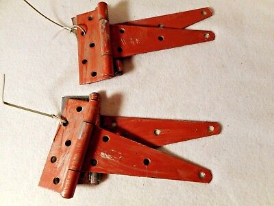 Old T Strap Barn Hinges-2 Sets of 2 old Hinges- Old Barn Red Paint