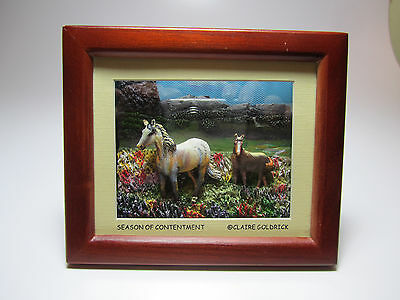 "Horses In Small Shadow Box ""Season of Contentment"" Claire Goldrick - Neat Item"
