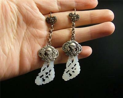 A Pair of Antique Old Chinese Nephrite Celadon Jade Earrings Silver Hook