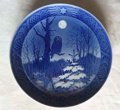 Owl In Full Moonlight Exceptionally Nice Blue White Collector Porcelain Plate