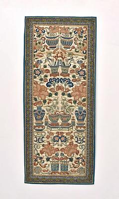19C Chinese Silk Embroidery Gold Thread Forbidden Stitch Panel Textile Tapestry