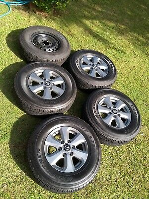 """AS NEW, ONLY 240 km Ford Ranger Mazda BT50 16"""" alloy wheel rims tyres x 5 DUNLOP"""