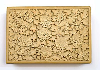 1930's Chinese Cream Cinnabar Lacquer Deep Carved Carving Box Flowers & Bird Mk