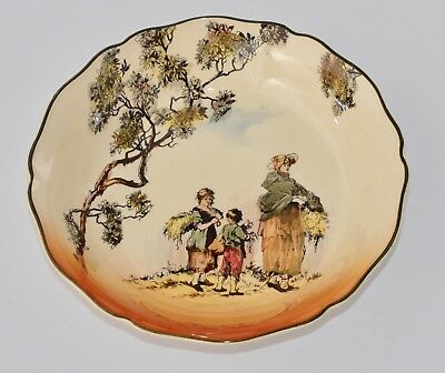 1939 Royal Doulton Old English Scenes THE GLEANERS D6123 Soup Bowl - VGC 19.5cm