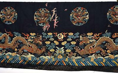 19C Chinese Silk Embroidery Gold Thread Dragon Textile Panel Tapestry 136 CM