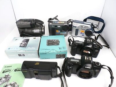 Mixed Lot of 8 Digital and 35mm Film & Video Cameras Sony Canon FujiFilm - AS IS