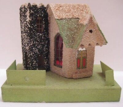 Old Unusual Cardboard Christmas House for Putz Village w/ side Tower
