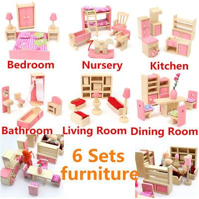 6 Set Rooms + 6 Dolls Wooden Furniture Doll House Family Miniature Kids Toys