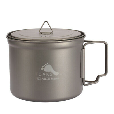 TOAKS Outdoor Titanium Cup Pot For Camping Hiking 900ml With Cover Folded Handle