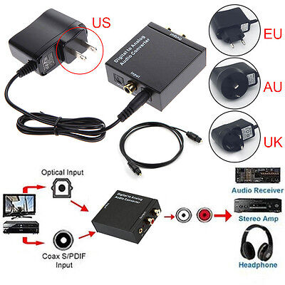 Digital Optical Coax Coaxial Toslink to RCA 3.5MM Analog Audio Converter Adapter