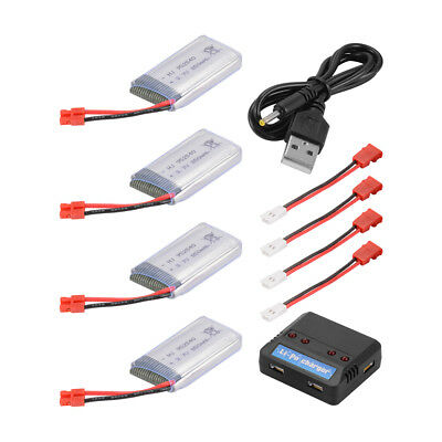 Charger +4x 3.7V 850mAh/600mAh Battery with Leads Cable for Syma X5HW X5HC Quad