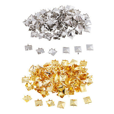 100 x Gold/Silver Metal Punk Square Pyramid Rivet Studs for Sewing Accessory