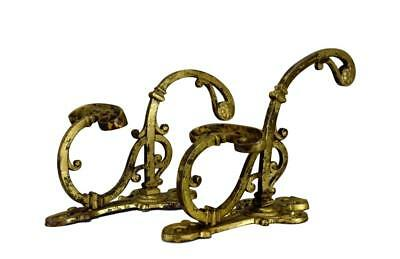 French Pair of Antique Bronze Wall Hat & Coat Rack Coat Pegs Hooks