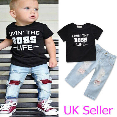 Toddler Baby Boys Girls Kids Clothes T-Shirt Tops Jeans Denim Pants Outfits Set
