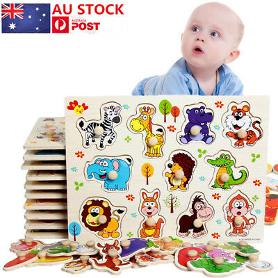 AU 11 Piece Wooden Animal Puzzle Jigsaw Early Learning Baby Kids Educational Toy