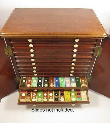 Antique Mahogany Microscope Slide collectors display Cabinet. Coins, Medals etc.