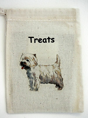 Dog Treat Bag with West Highland Terrier motif on one side Size 13cm by 10cm
