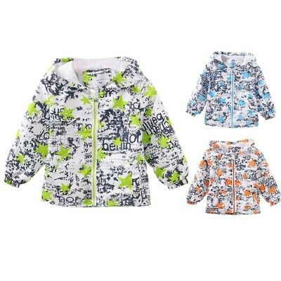 Toddler Baby Kids Hooded Outwear Clothes Floral Coat Boys Girls Windproof Jacket