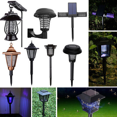 Outdoor Solar Mosquito Insect Pest Bug Zapper Killer Garden Yard Lawn Light Lamp