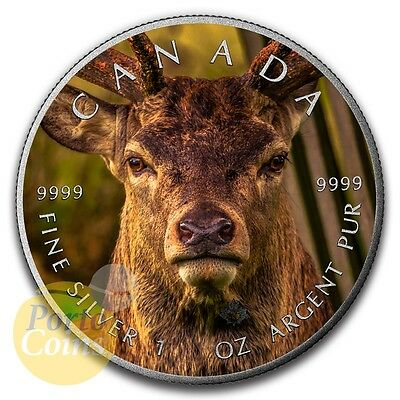 2016 Canada $5 Maple 1 oz Silver Deer Flag Colorized Antique Coin NEW