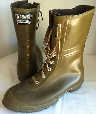CONVERSE MEN 10 Insulated Army Green Rubber Lace Up Boots