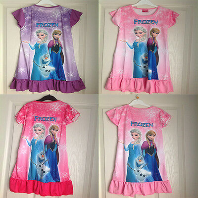 FROZEN Elsa Anna Girls Nightdress Nightie Dress  Sleepwear Pjs NEW 3-8 years