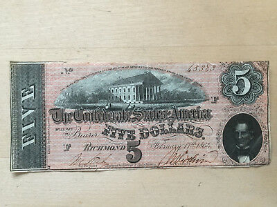 Confederate States America: 5 Dollars, Richmond, Februar, 17th. 1864, Original!!