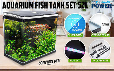 Aquarium Fish Tank Curved Glass RGB LED Light Compete Set Filter Pump 52L