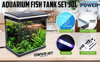 Aquarium Fish Tank Curved Glass RGB LED Light Compete Set Filter Pump 30L