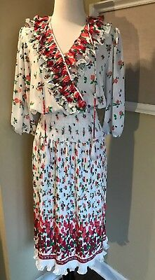 Estate Vintage MONTAGE BY MOSAIC DRESS Floral Ruffled Ruched Sheath Shift S