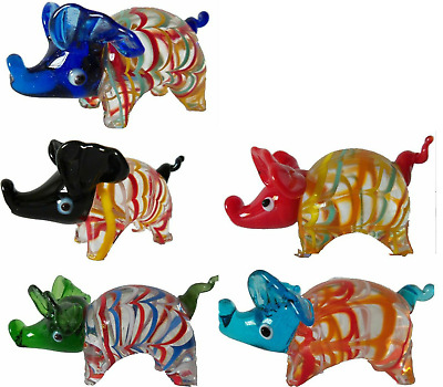 SET OF 5 BRAND NEW HAND BLOWN   GLASS PIGS ORNAMENT in BOX