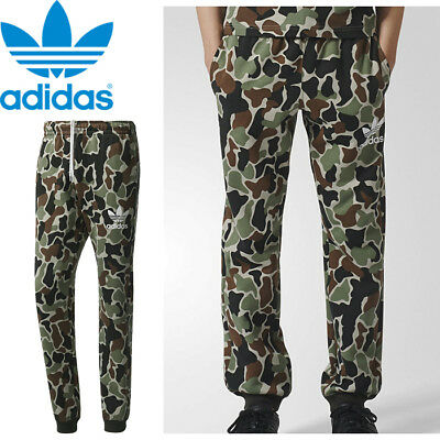 New Retro Green Adidas Originals Fleece Camo Bottoms Joggers Track Pant Men