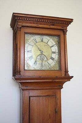 EARLY RARE SOMERSET BRASS DIAL PINE LONGCASE CLOCK - J BAND, BRIDGWATER c1760