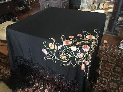 Antique Chinese 2 Side Embroidered Black Silk Piano Shawl Best Elaborate Fringe