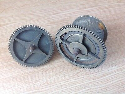 Antique Clock Gut Drive Wheel Cog Weight Driven 77mm Plus Chain Drive Cog 66mm