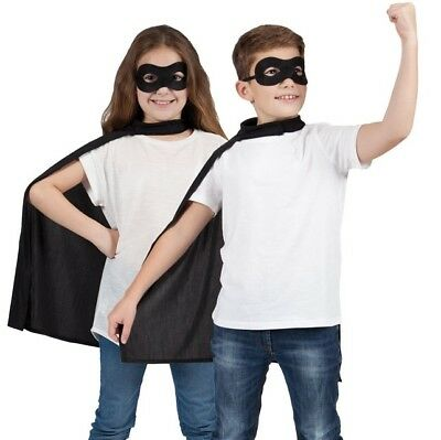 Childs Halloween Superhero Fancy Dress Kit Cape & Mask Black Kids Cloak New w
